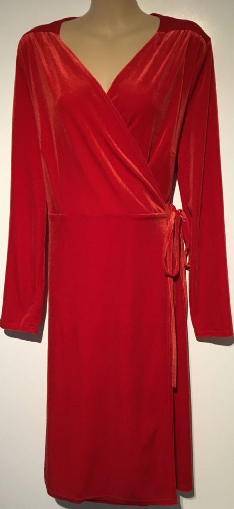 TU RED VELOUR LONG SLEEVED WRAP DRESS SIZE 12
